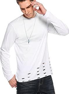 Mens Hipster T Shirt Long Sleeves Ripped Hole Hemline Hip Hop Tees Top
