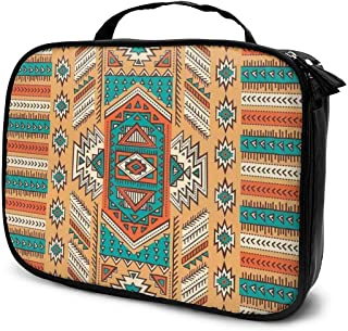 Ethnic Aztec Secret Tribe Pattern Cosmetic Bag Portable Makeup Pouch Travel Hanging Organizer Bag for Women Girls