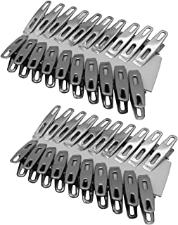 ZUYEE Clothes Pins Finger Clips Stainless Steel Clothes Clips Laundry Pins Mini Spring Metal Clothespin Clamp Binder Clip Hanging Clips Hooks for Home/Office Use Set (40PCS)