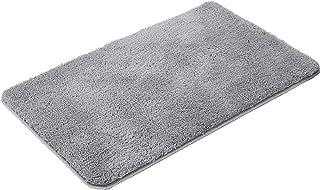 Mugee バスマット 風呂マット 足ふきマット 吸水 速乾 滑り止め ふかふか 抗菌 おしゃれ 丸洗い キッチン 浴室 玄関 (グレー, 40×60cm)