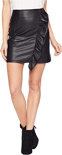 Ruffled Faux Leather Mini Skirt