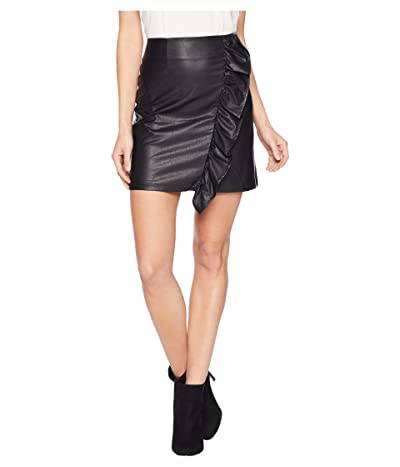 1.STATE Ruffled Faux Leather Mini Skirt (Rich Black) Women