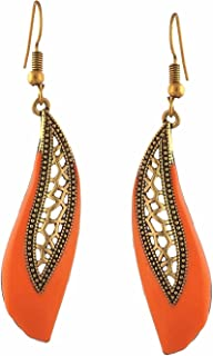 Efulgenz Indian Vintage Retro Ethnic Gypsy Oxidized Gold Tone Boho Enamelled Dangle Drop Hook Earrings for Girls and Women Love Gift