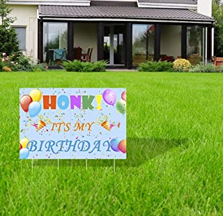 """PIXHOTUL Honk It's My Birthday Yard Sign - 26"""" x 17"""" Large Waterproof Birthday Lawn Garden Signs with Stakes for Boys and ..."""