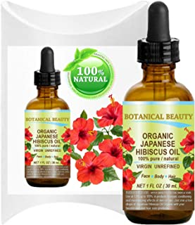 Organic HIBISCUS OIL (Hibiscus Sabdariffa) JAPANESE 100 Pure Natural VIRGIN UNREFINED COLD PRESSED Anti Aging, Vitamin E oil for FACE, SKIN, HAIR GROWTH 1 Fl.oz.- 30 ml by Botanical Beauty