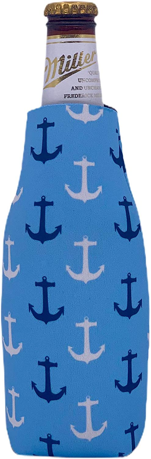 Anchor Nautical Pattern Beer Bottle Coolie (1)