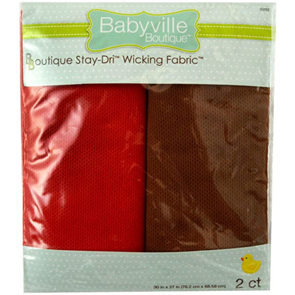 Babyville Boutique 35252 Stay-Dri Wicking Fabric, 30 x 27-Inch, Red & Brown, 2 Count