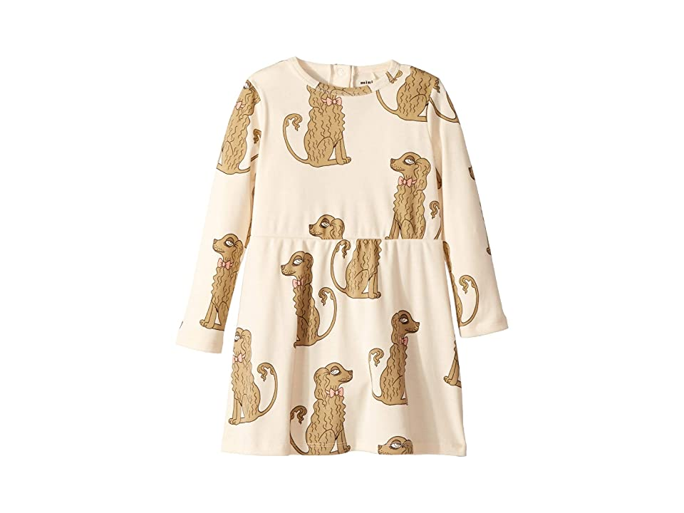 mini rodini Spaniel Long Sleeve Dress (Infant/Toddler/Little Kids/Big Kids) (Off-White) Girl