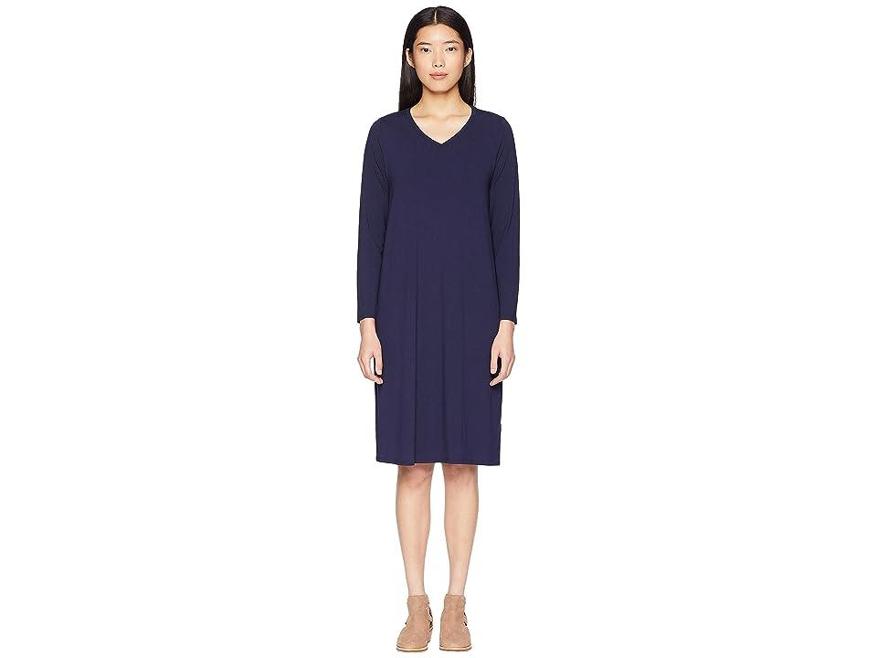Eileen Fisher Viscose Jersey V-Neck Dress (Midnight) Women