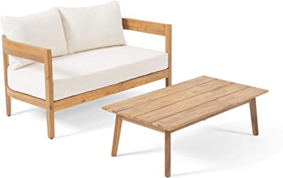 Christopher Knight Home 312396 Alina Outdoor Loveseat Set with Coffee Table, Teak Finish, Beige