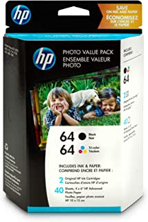 HP 64 Black & Tri-Color Original Ink, 2 Cartridges, and 40 Sheets Photo Paper (N9J90AN, N9J89AN) for HP Envy Photo 6252 62...