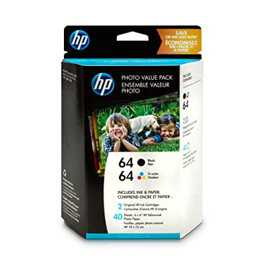 HP 64 | 2 Ink Cartridges with Photo Paper | Black, Tri-color | N9J90AN, N9J89AN