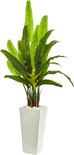 Nearly Natural 69-in. Travelers Palm Artificial White Tower Planter Silk Trees Green