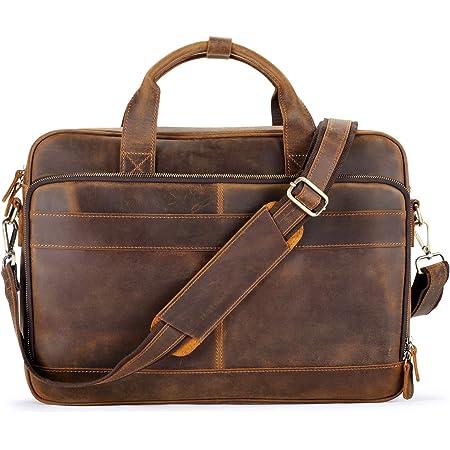 Mens Leather Attache Briefcase Men/'s Vintage Leather Bag Retro Genuine Leather Bag Leather File Briefcase Men Shoulder Messenger Bag