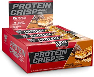 BSN Protein Crisp Bar by Syntha-6, Low Sugar Whey Protein Bar, 20g of Protein, Chocolate Caramel Crunch (12 Coun of 2.05 oz Bars), 24.6 oz