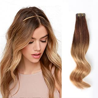 ABH AmazingBeauty Hair Pre-Taped 50g/20pcs Ombre Extensions Tape Hair Remy Human Hair Skin Weft, Invisible, Seamless and Reusable, Two Toned Dark Brown Fading into Dark Dirty Blonde T3-12, 14 Inch