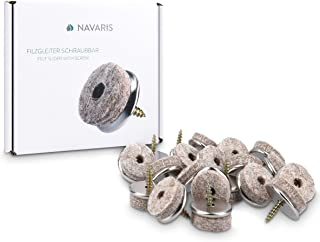 20x Navaris Felt Gliders with Screw Chair Glides - Floor Protector 25mm - Protection for Furniture Chairs Parquet Laminate - Felt and Metal - Round