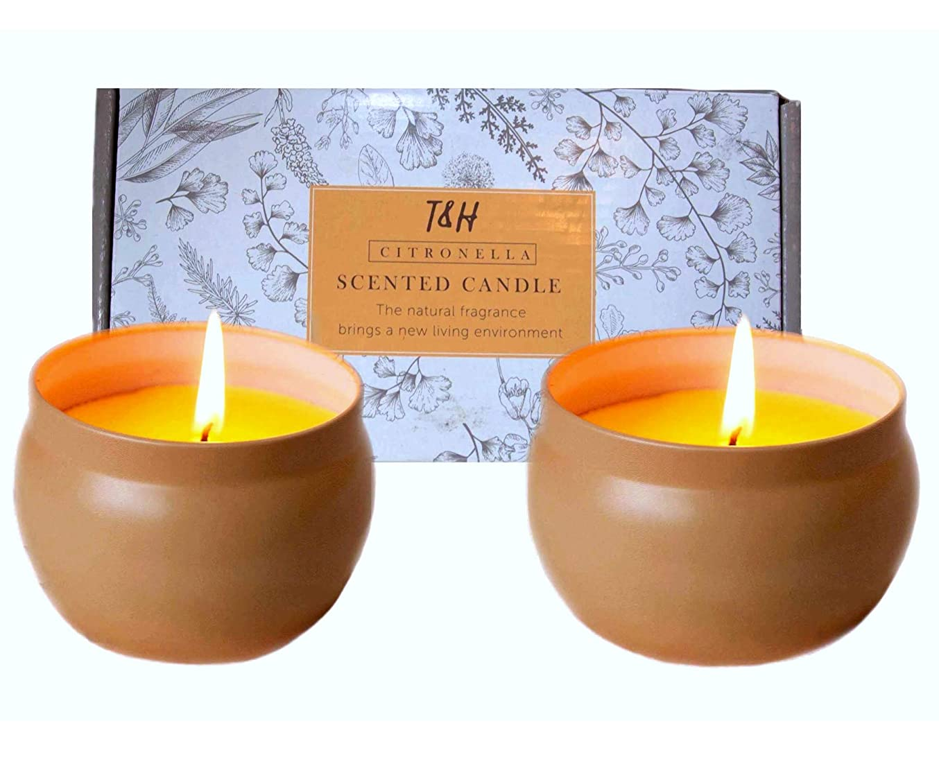 Citronella Candles Outdoor Indoor Portable Travel tin 2 Pack Gift Set Pure Soy Wax Gift Set 60 Hour Burn Highly Scented Long Lasting (2 x 6 Ounce, Tin)