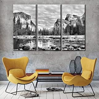 Black and White Bedroom Wall Decor Yosemite Pictures California Paintings on Canvas 3..