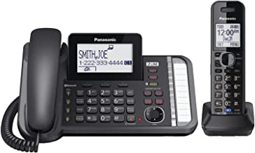 Panasonic 2-Line Corded/Cordless Phone System with 1 Handset - Answering Machine, Link2Cell, 3-Way Conference, Call Block, Long Range DECT 6.0, Bluetooth - KX-TG9581B (Black)