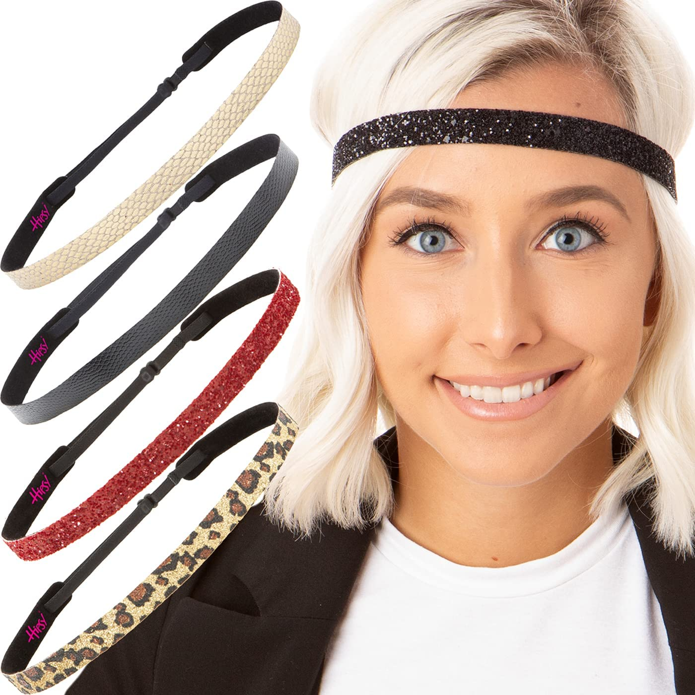 Hipsy Adjustable Non Slip Animal Print Hair Band Headbands for Women & Girls Pack