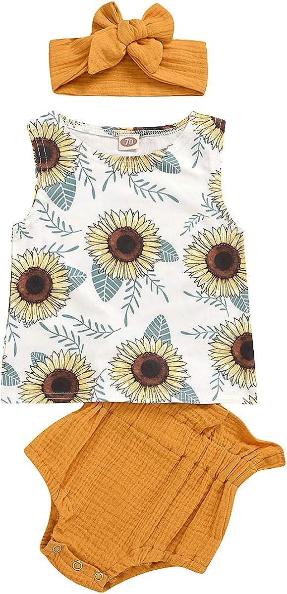 OKHALIKA Newborn Baby Boston Mall Girl Clothes Sunflower Popular product Printed Off Shoulde