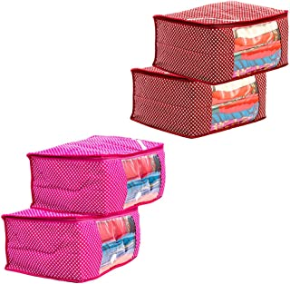 Amazon Brand - Solimo 4 Piece Cotton Mix Fabric Saree Cover Set with Transparent Window, Pink and Maroon