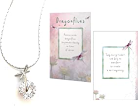 Smiling Wisdom - Dragonfly Silver Necklace Gift Set - Sympathy Grief - Heaven Sends Dragonflies, New Beginnings Greeting Card - Her, Woman, Teen - Blue Pink Off-White - Real Pure .925 Sterling Silver