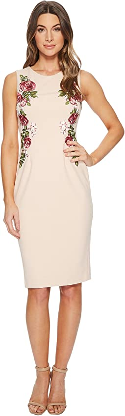Knit Crepe Embroidered Sheath