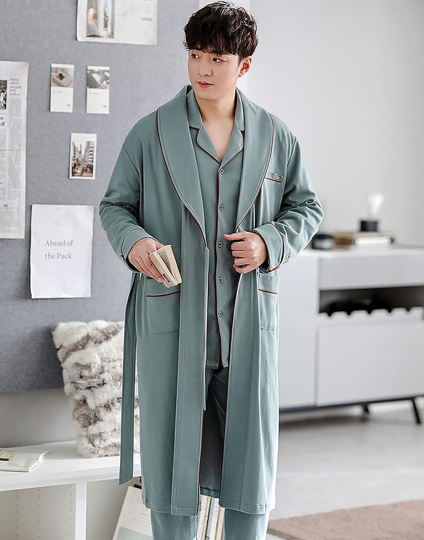 Classic Sleepwear Mens Pajamas, Long 100% Cotton Pj with Bathrobe Three Piece Suit