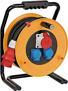 Brennenstuhl Brobusta CEE 1 IP44 Industrie-/Baustellen-Kabeltrommel CEE-Kabeltrommel mit 30m Kabel in schwarz, ausSpezialgummi, für den ständigen Einsatz im Außenbereich, Made in Germany