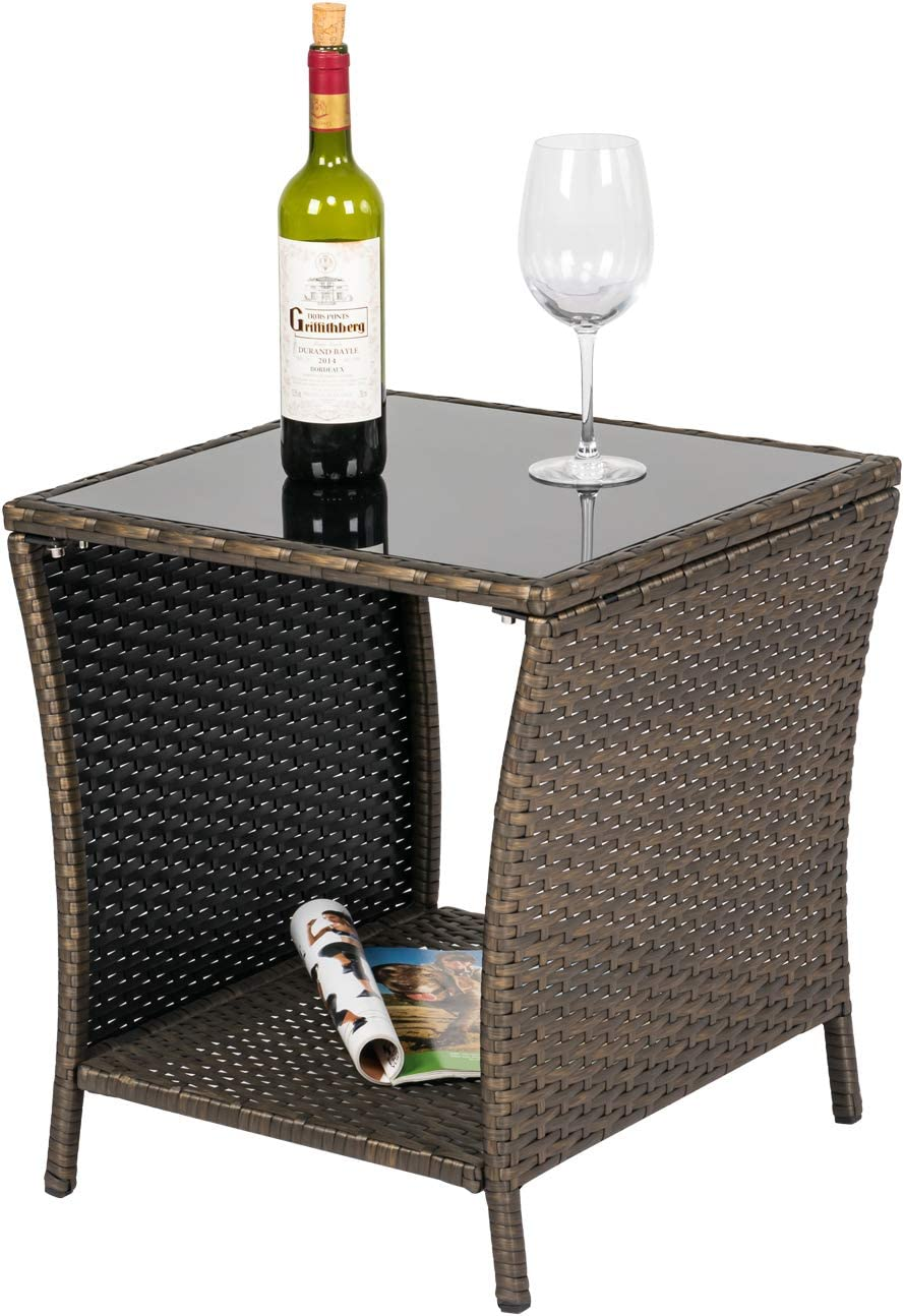 OFFicial store Kinsuite Wicker Coffee Table Patio Rattan with Manufacturer OFFicial shop Side PE Gla