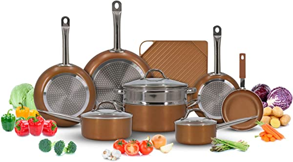 Luxury Copper Cookware Pots And Pans Set With Non Stick Griddle 13 Piece