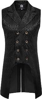 Paul Jones Mens Gothic Steampunk Double Breasted Vest Brocade Waistcoat PJ0081 - - Medium