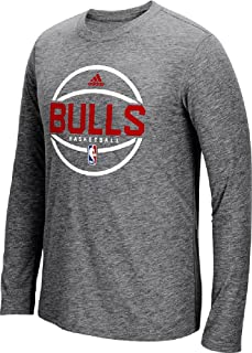 adidas Chicago Bulls Slimmer Fit On-Court Dark Grey Pre-Game Ultimate Synthetic Long Sleeve T Shirt