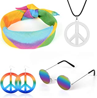 Z-synka 4 PCS Halloween Costume Set Hippie Costume Set for Women & Men Includes Hippie Sunglasses,Rainbow Peace Sign Necklace,Headband Bandana,Peace Sign Earrings 60s or 70s Hippie Accessories