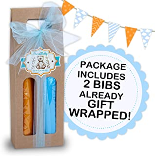 Softest, lightest Silicone Available! This Baby bib Starter Gift Set Comes Gift Packaged - Blue & Orange (2 Pack)
