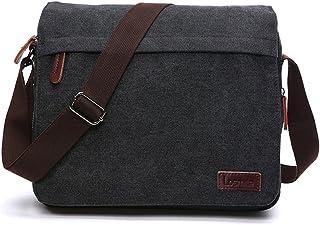 "LOSMILE Men's Messenger Bag, Canvas Shoulder Bags, 13.3"" Laptop Bags for Work and School,Cross-Body Bags.(BLACK)"