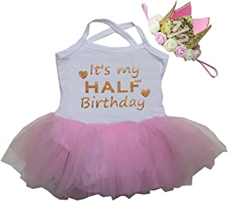 Kirei Sui Baby Half Birthday Tulle Tutu Bodysuit & 1/2 Gold Crown Headband