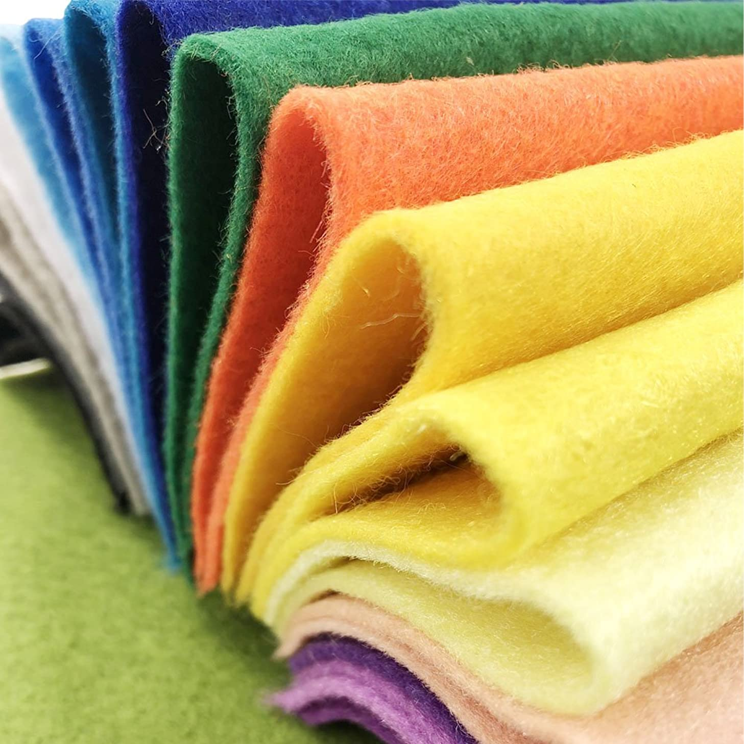 AiMay 50pcs Soft Felt Fabric Pack Felt Squares Sheets for DIY Craft Assorted Colors 1.4mm Thickness (15 cm x 15 cm)