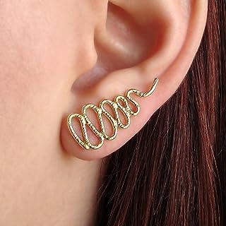 Aretes de oro rosa oreja brazalete regalo, serpiente puños, pendientes de escalada, joyas de oro rosa, pendientes de trepador hipoalergénicos del oído, rastreadores de oreja