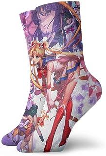 LREFON, Calcetines de compresión de Dibujos Animados Sailor-Moon Pretty Guardian Calcetines Crew Divertido Casual Unisex Impresión Tobillo Calcetín Deportivo