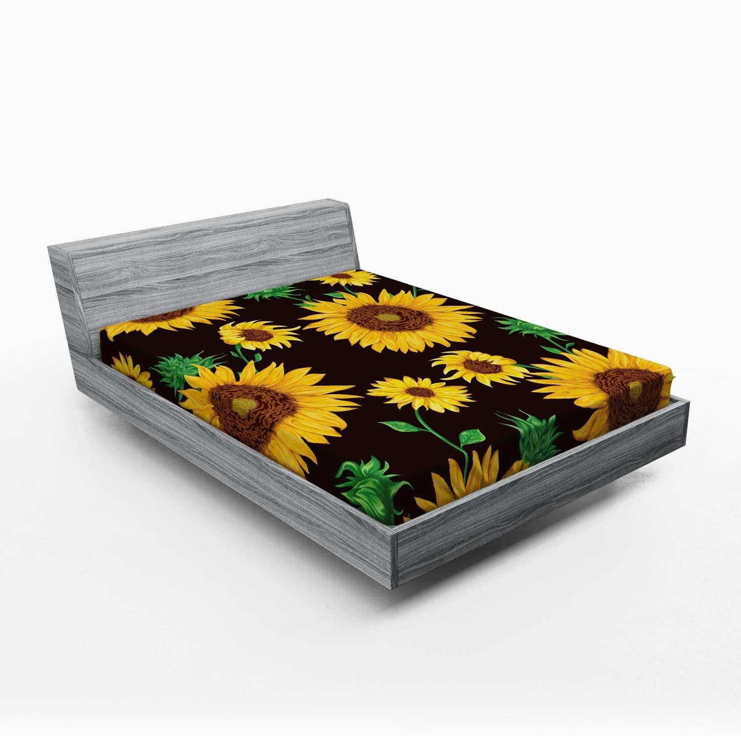 Lunarable Ranking store TOP11 Sunflower Fitted Sheet Earth Floral Tones Leaves Buds