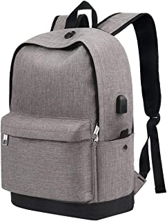 "School Backpack for Teen Girls, College Student Bookbag with USB Charging for Boys Men Women, Water Resistant Anti Theft Computer Bag, Casual Daypack for Weekend Travel Outdoor Fit 15.6"" Laptop, Grey"