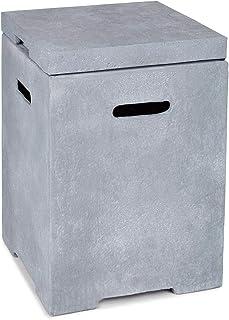 blumfeldt Gas Garage - Aufbewahrungs-Box für Gasbehälter, Material: Magnesia/MGO, Frostschutz, für Gasflaschen bis 8 kg, Maße: 41 x 56,5 x 41 cm BxHxT, 12 kg, inkl. Regenschutz, Silbergrau
