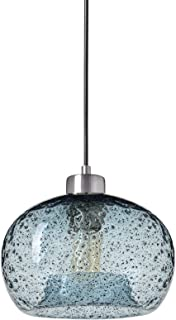 Casamotion Pendant Light Handblown Glass Drop Ceiling Lights, Rustic Hanging Light Seeded Glass with Black Sand Powder (Brushed Nickel, Light Blue)