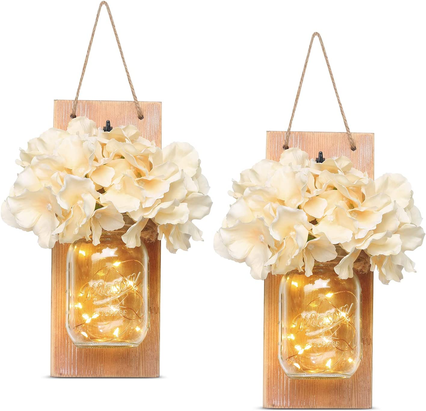 HABOM Rustic Mason Jar Wall Decor Sconces - Decorative Home Lighted Country House Hanging with 6 Hour Timer LED Fairy Strip Lights and Flowers Hydrangea Farmhouse Sconce Jars (Set of 2)