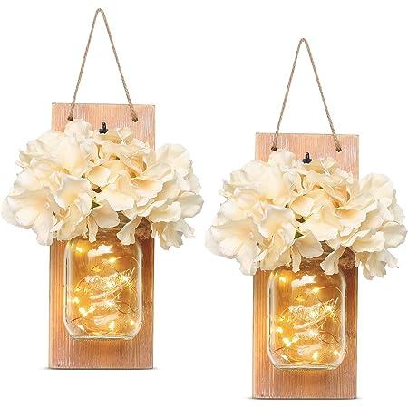 Mason Jar bar jard/ín 30 LED y flor artificial decoraci/ón de madera decoraci/ón para fiestas con temporizador de 6 horas boda 2 unidades Candelabro de pared r/ústico amarillo