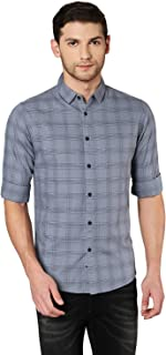 Dennis Lingo Men's CheckeredNavy Slim Fit Casual Shirt