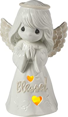 Precious Moments Inspirational Kitchen and Décor Blessed LED Angel Porcelain 183417 Figurine, One Size, Multi